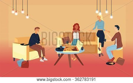 Concept Of Friends Leisure At Home. People Men And Women Throwing A Party. Friends Relaxing At Home
