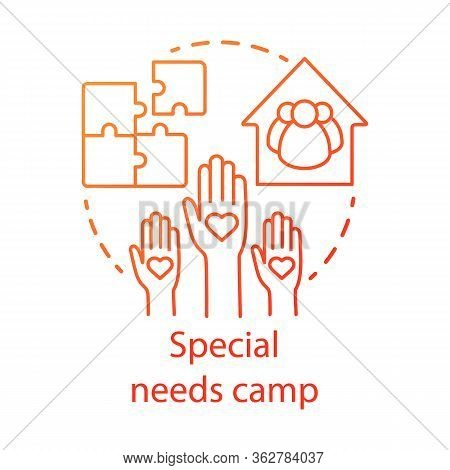 Special Needs Camp Concept Icon. Summer Handicapped, Charity Club, Community Idea Thin Line Illustra