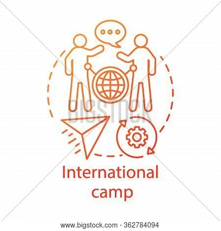 International Camp Concept Icon. Meeting New People Abroad, Experiencing Foreign Cultures Idea Thin