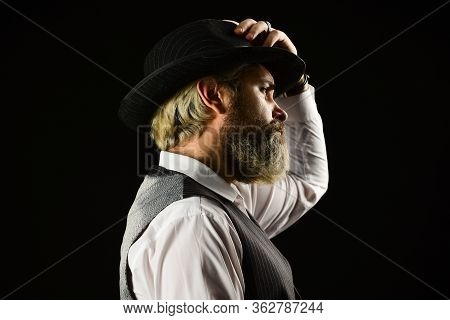 Past Centuries Trend. Bearded Guy Black Background. Beard Grooming. Retro Gentlemen. Mature Handsome