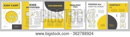 Kids Camp Organisation Advertisement Brochure Template Layout. Flyer, Booklet, Leaflet Print Design