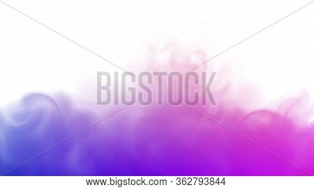 Blue And Purple Fog Or Smoke. Purple Background. Abstract Blurry Smoke With Blue And Purple Tints. P