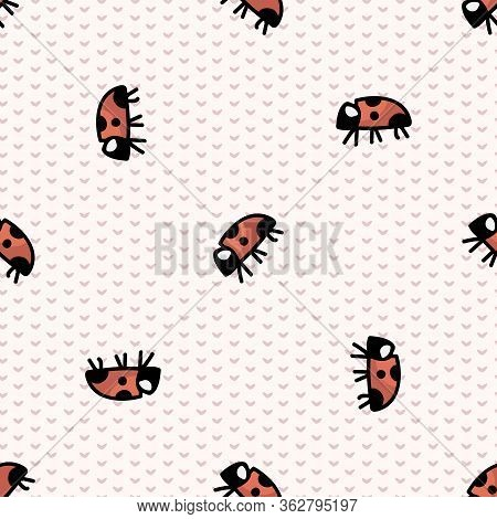 Cute Ladybug Seamless Vector Pattern. Hand Drawn Biology Garden Wildlife For Stay Home Illustration.