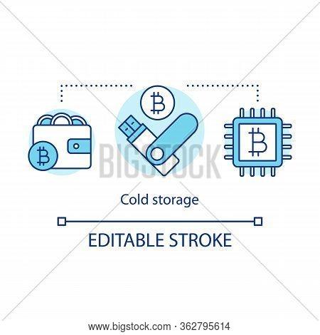 Cold Storage Concept Icon. Hardware Wallet Idea Thin Line Illustration. Keeping Bitcoins Offline. St