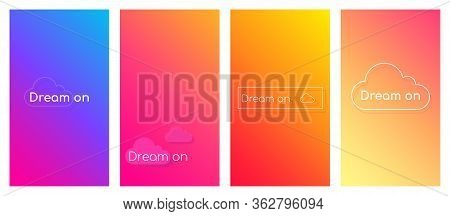Dream On Social Media Stories Duotone Template Set. Gradient Inspirational Phrase Web Banner With Te