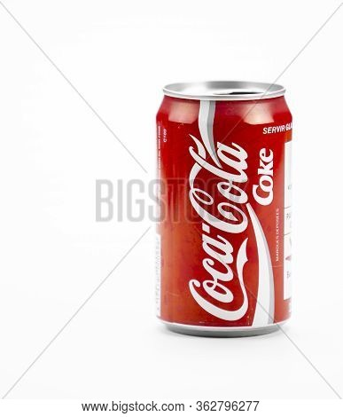 Atlanta, Georgia, Usa April 4, 2020: Classic Red Aluminum Coca-cola Can Coke Brand Isolated On White