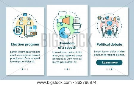 Elections Onboarding Mobile App Page Screen With Linear Concepts. Election Program, Political Debate