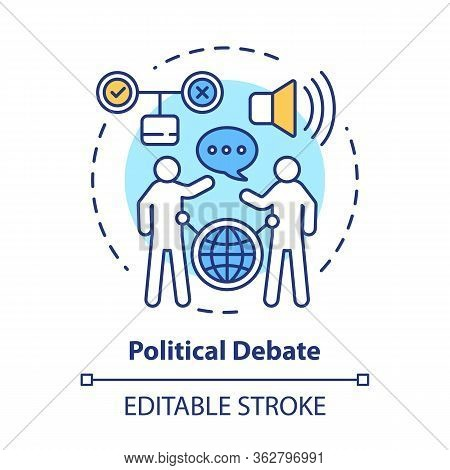 Elections Concept Icon. Political Debate, Talking To Election Opponent Idea Thin Line Illustration.