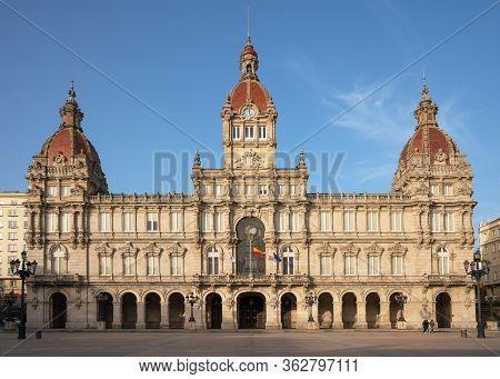 Townhall, Historic Buildings Of A Coruna, Galicia, Spain