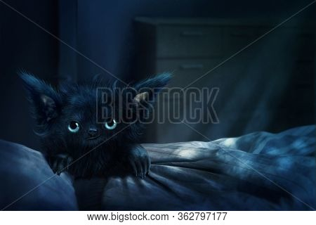 Cute monster next to the bed