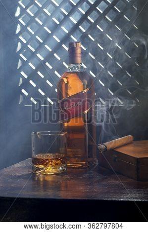 Phuket, Thailand- March 2020. Johnnie Walker Red Label Blended Whisky On Color  Background. Johnnie