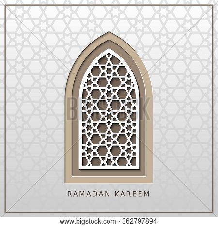Ramadan Kareem, Generous Ramadan, Card With Islamic Window. Vector Papercut Geometric Template Of Ca