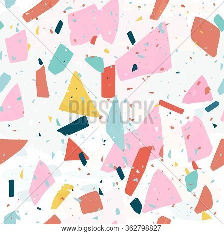 Terrazzo Flooring Seamless Pattern For Wallpaper, Fabric, Coverage And Other Print And Design. Endle