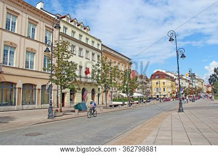 Warsaw / Poland. 27 July 2019:  Modern Architecture In Warsaw, Poland. Street In Capital Of Poland W