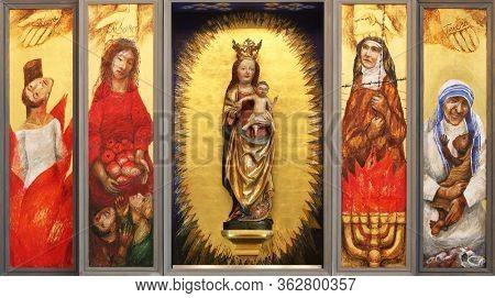 WASSERALFINGEN, GERMANY - MAY 05, 2014: Altar of women by Sieger Koder in St. Stephen's church in Wasseralfingen, Germany