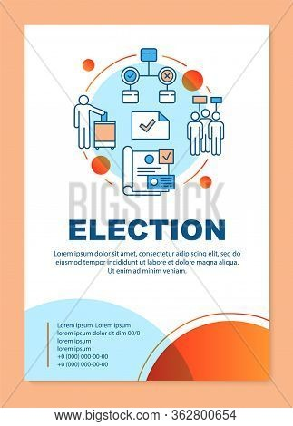 Election Brochure Template Layout. Holding Parliamentary Voting. Flyer, Booklet, Leaflet Print Desig