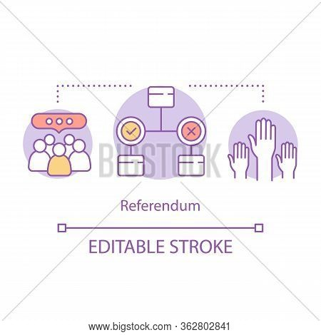 Elections Concept Icon. Referendum Idea Thin Line Illustration. Electorate Voting On New Law, Govern