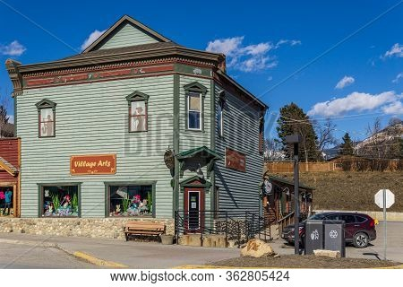 Invermere, Canada - March 18, 2020: Art Gallery In Small Town British Columbia.
