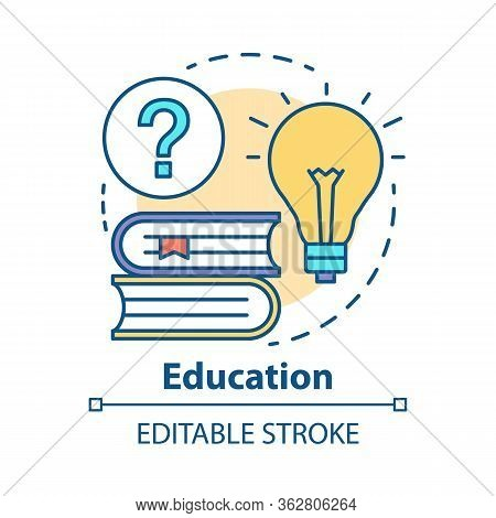 Education Concept Icon. Knowledge And Wisdom Idea Thin Line Illustration. Reading Books, Solutions,
