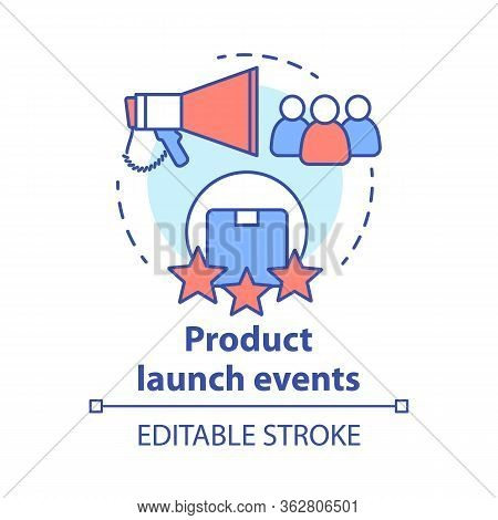 Product Launch Events Concept Icon. New Product Presentation And Release Thin Line Illustration. Mar