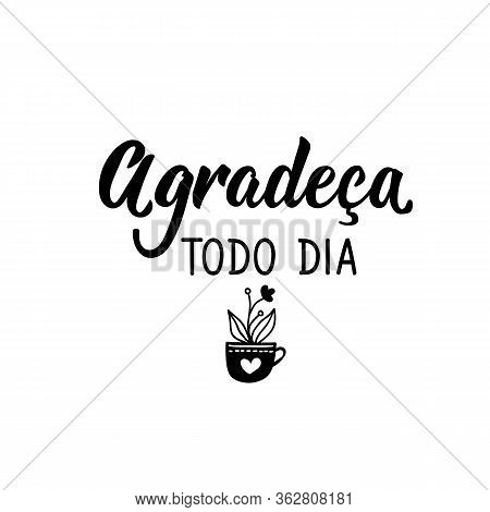 Brazilian Lettering. Translation From Portuguese - Thank Every Day Modern Vector Calligraphy. Ink Il