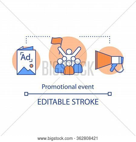 Promotional Event Concept Icon. Pr Campaign Idea Thin Line Illustration. Advertising Presentation. E