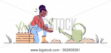 Girl Gardening Flat Vector Illustration. African American Woman Planting Seedlings With Watering Can