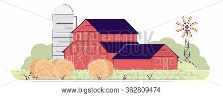Farm Barns With Hay Bales Flat Vector Illustration. Village Farmland, Red Rural Ranch And Backyard W