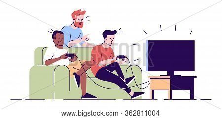 Male Friends Playing Videogame Flat Vector Illustration. Bearded Supporter Giving Instructions. Room