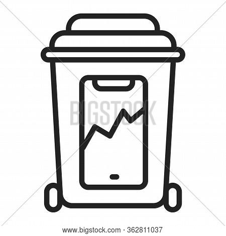 E-waste Recyclable Black Line Icon. Waste Recycling. Garbage Sorting. Environmental Protection. Outl
