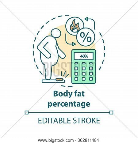 Body Fat Percentage Check Concept Icon. Obese Patient On Scales Idea Thin Line Illustration. Person