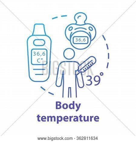 Body Temperature Measuring Gadgets Concept Icon. Patient Having Fever Idea Thin Line Illustration. E