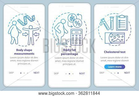 Body Health Onboarding Mobile App Page Screen Vector Template. Cholesterol Test. Body Shape Measurem