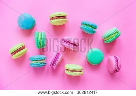 Sweet Almond Colorful Pink Blue Yellow Green Macaron Or Macaroon Dessert Cake Isolated On Trendy Pin