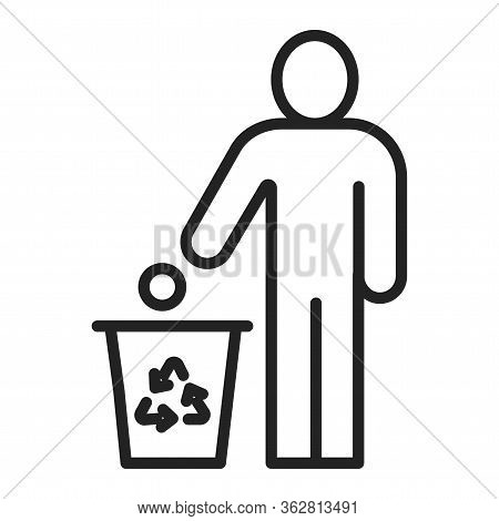 Do Not Litter Black Line Icon. Man Throws Garbage. Pictogram For Web Page, Mobile App, Promo.