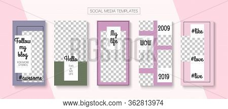Social Stories Cool Vector Layout. Simple Sale, New Arrivals Story Layout. Blogger Tech Frame, Socia