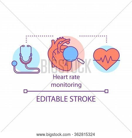 Heart Rate Monitoring Concept Icon. Cardiological Health Control Idea Thin Line Illustration. Stetho