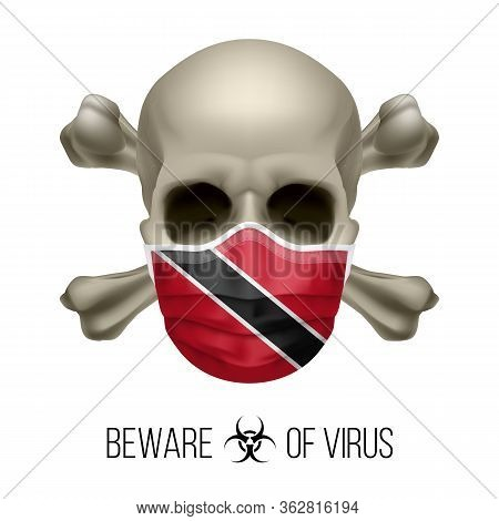 Human Skull With Crossbones And Surgical Mask In The Color Of National Flag Trinidad And Tobago. Mas