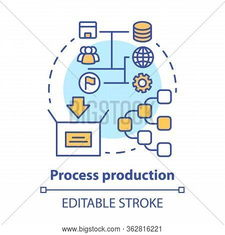 Process Production Concept Icon. Manufacturing Operations Management Idea Thin Line Illustration. Jo