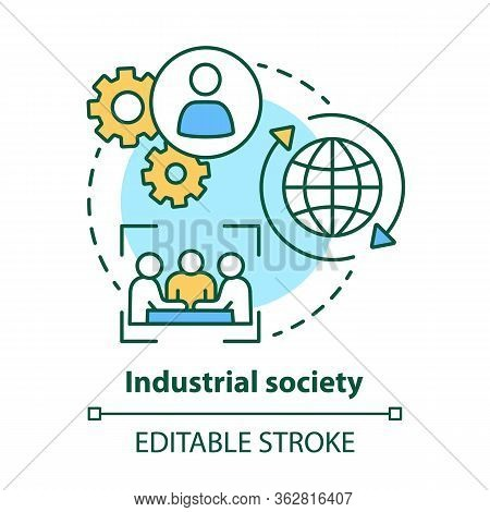 Industrial Society Concept Icon. Mass Production Technology Idea Thin Line Illustration. Labor Indus