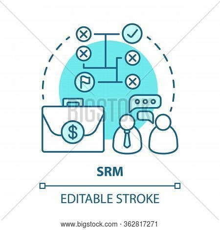 Srm Blue Concept Icon. Supplier Relationship Management Idea Thin Line Illustration. Planning And Ma