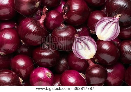 Onions Background. Food Background. Top View. Pile Of Onions. Red Onions Background Close Up.