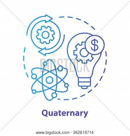 Quaternary Blue Concept Icon. Knowledge Sector Idea Thin Line Illustration. Information-based Servic