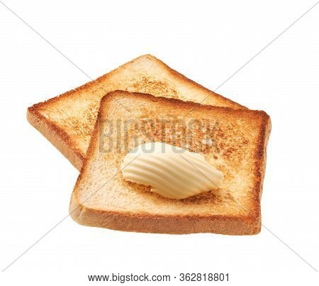 Toasted Bread With Fresh Butter Curl Isolated On White Background