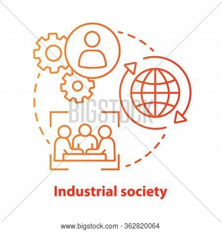 Industrial Society Red Concept Icon. Mass Production Technology Idea Thin Line Illustration. Labor I