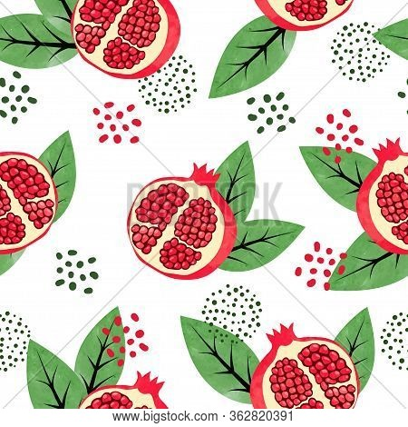 Seamless Pomegranate Pattern. Vector Illustration With Pomegranate Fruits And Leaves.