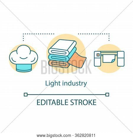 Light Industry Concept Icon. Processing And Manufacturing Idea Thin Line Illustration. Industrial Se