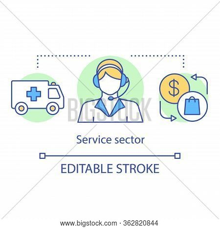 Service Sector Concept Icon. Tertiary Idea Thin Line Illustration. Business Produce Services. Transp