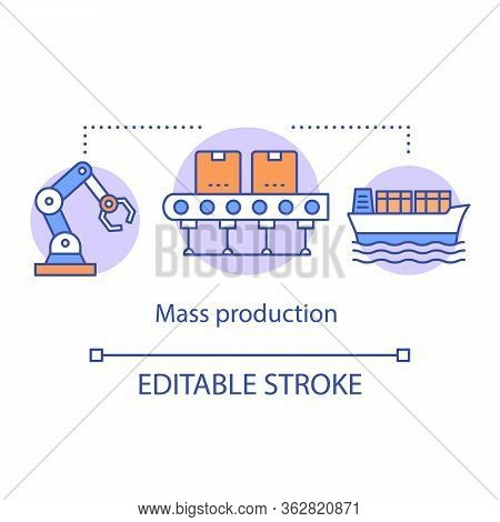 Mass Production Concept Icon. Manufacturing Method Idea Thin Line Illustration. Continuous-flow Prod