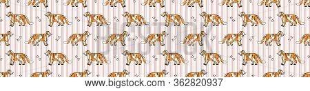 Cute Tiger With Paw Pad Seamless Vector Border. Hand Drawn Striped Big Cat For Safari Jungle Illustr